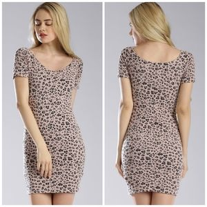 Guess Patterned Bodycon Dress, Dusty Pink/Black Lg